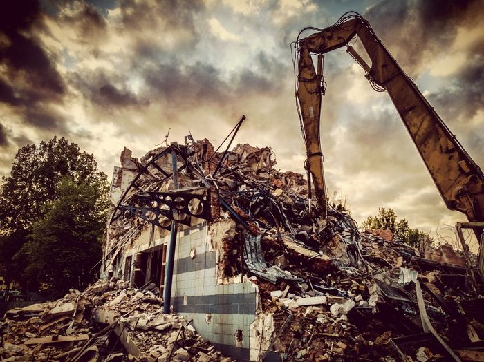 Old Nordea Bank Building taken down Nordea Bank Debris Bricks Construction Site Photography Sepia Creapy Gdynia Poland Crane - Construction Machinery Sepiatone Sepia Sunset HuaweiP9