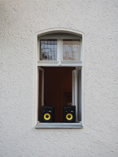 Architecture At The Balcony At The Window Berlin Building Exterior Built Structure Celebrating Close-up Day No People Outdoors Party Time Playing Music Outside Sound System Speakers Symmetrical Symmetry TakeoverMusic Techno Window