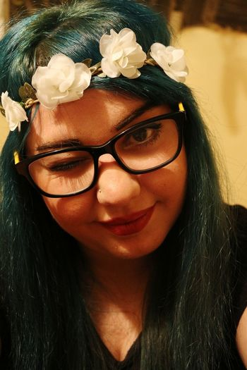 Teal Teal Hair Tealhairdontcare Flowerband Selfportrait That's Me