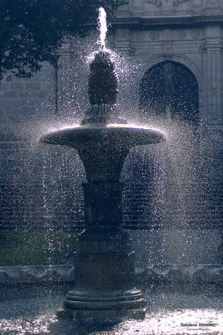 water, motion, fountain, architecture, spraying, nature, splashing, long exposure, no people, blurred motion, outdoors, built structure, city, sculpture, day, flowing water, park, building exterior, art and craft, falling water, flowing, running water