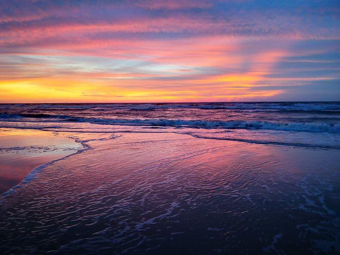 Sunset over Tuaran beach shabandar, sabah malaysia Water Sea Sunset Beach Low Tide Salt - Mineral Sky Horizon Over Water Landscape Cloud - Sky Dramatic Sky Moody Sky Romantic Sky Tide Sky Only