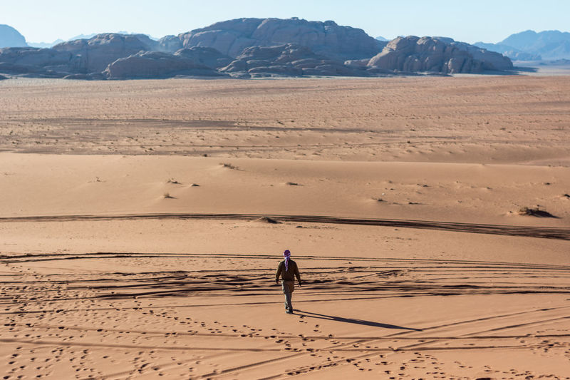 Full length rear view of man walking on desert