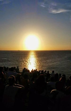 Sunset Large Group Of People Water Sea Watching Silhouette Leisure Activity Beauty In Nature People Horizon Over Water Crowd Outdoors Sun Real People Nature Togetherness Bahia Salvador Faroldabarra