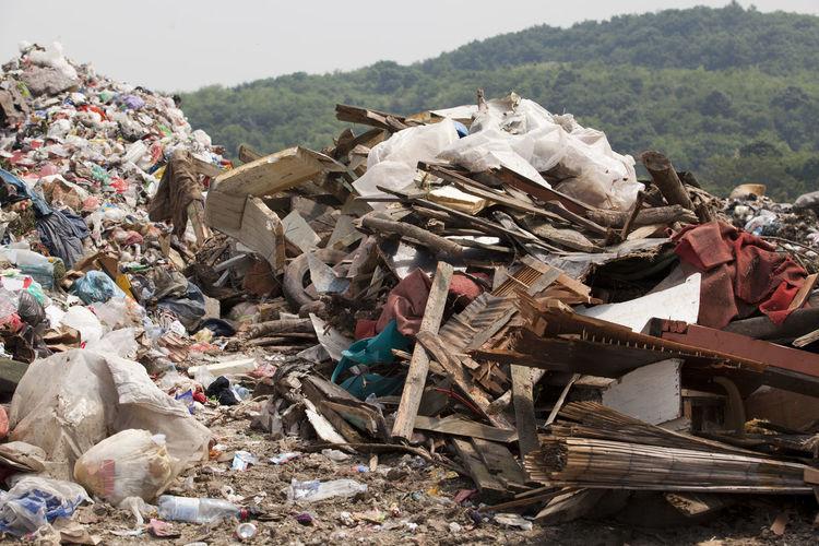 Heap Of Garbage On Field