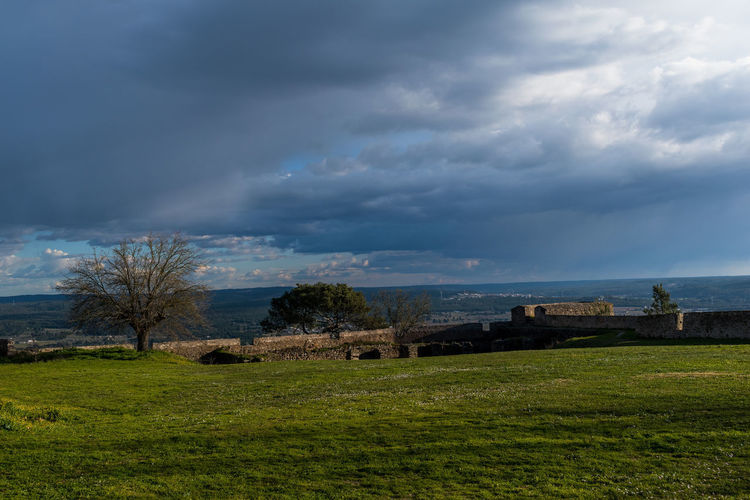 Castle of Abrantes Portugal Agriculture Architecture Beauty In Nature Built Structure Cloud - Sky Day Field Grass Landscape Nature No People Outdoors Rural Scene Scenics Sky Storm Cloud Travel Destinations Tree Weather