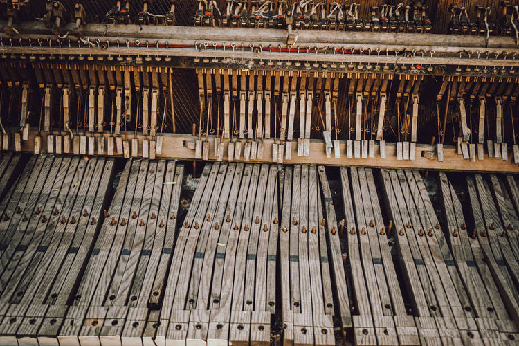 Full frame shot of old wooden piano