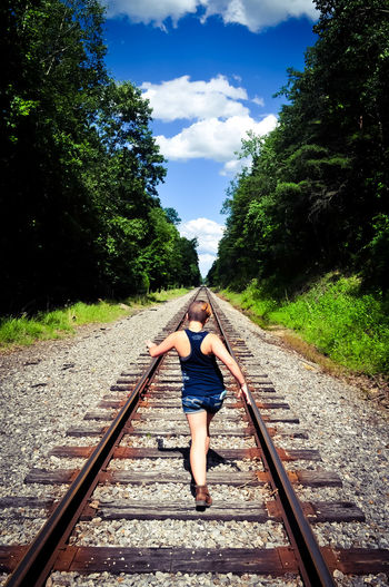 Railroad Track One Person Sky Day One Young Woman Only The Way Forward Outdoors Childhood