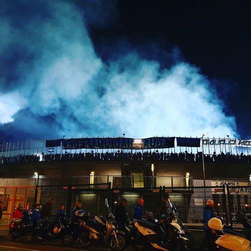 Stadium Atalanta Bergamo Atalanta Ultras Smoke Blue Night Nightphotography Urban Italy Community Riot Arts Culture And Entertainment Oil Pump Sky Lightning