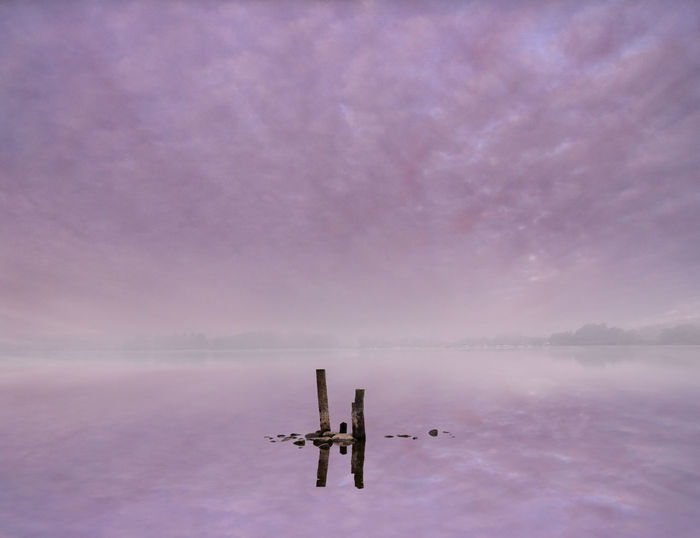 Scenic view of wooden posts in lake against sky during winter