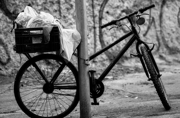 Bicycle Transportation Wheel Outdoors Sao Paulo - Brazil Film Black And White The Purist (no Edit, No Filter) 35mm Film Film Is Not Dead Blackandwhite Bwn Streetphotography City Life
