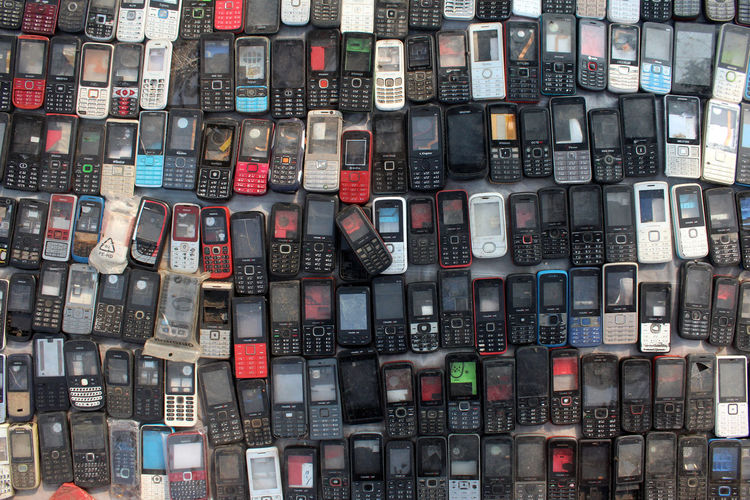 Full Frame Backgrounds Abundance Large Group Of Objects No People Choice Variation Arrangement Still Life Multi Colored In A Row Collection Order High Angle View Cell Phone  Cell Phones Scrape Mobile Phone Waste Plastic