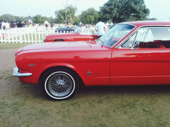 Red Color mustang India Dfordelhi Vintage Car Rally Indiagate Vintage Car Show Fordmustang Ford Mustang