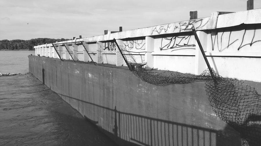 Damage By Floods Flood Damage Water River Crashed Barge Blackandwhite Black And White Black & White Ruin Barge Abused Graffiti