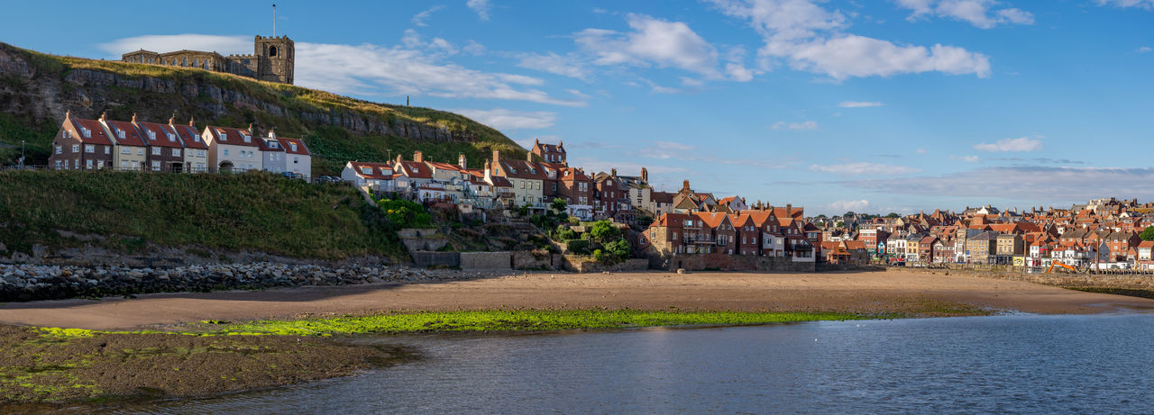 Panoramic image of Whitby across Tate Hill sands, North Yorkshire, England. England, UK North Yorkshire Panoramic St Mary's Church Whitby Whitby North Yorkshire Architecture Building Building Exterior Cloud - Sky Historic Whitby History House Outdoors Residential District Shambles Sky Tate Hill The Past Town Travel Destinations