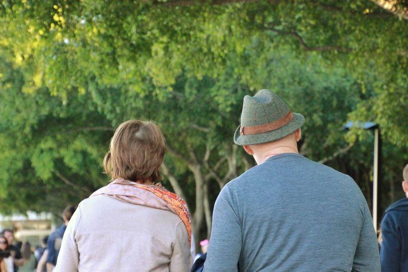 Tourists walking in garden