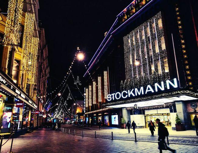 Christmas Lights Night Architecture Illuminated Christmas Decoration City Stockmann Helsinki Finland December