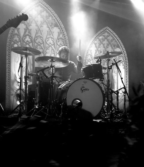 Band of Skulls, SWX club Bristol Performance Black & White Rock Band Concert Drum Kit Rock Musician Live Event