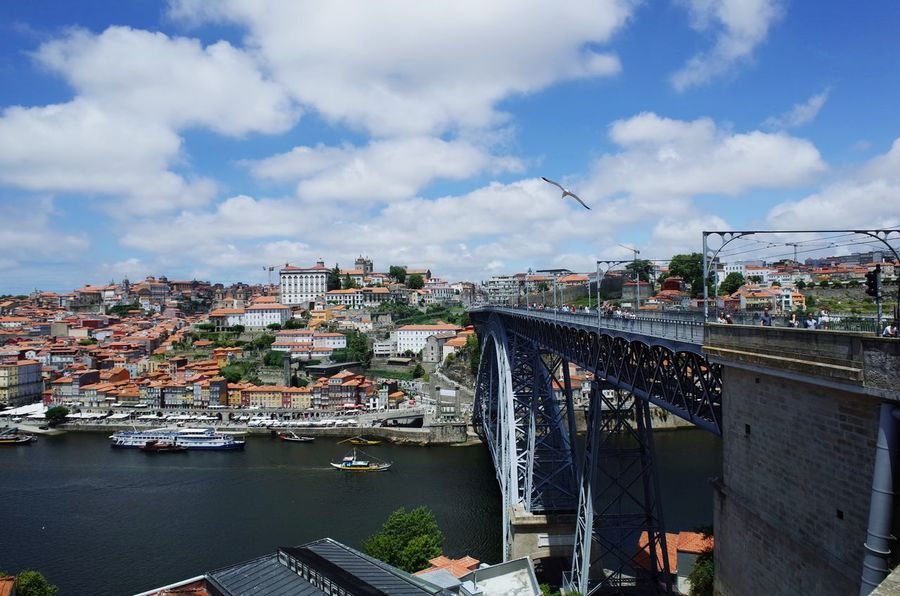 Cityscape Business Finance And Industry Cloud - Sky No People City Sky Outdoors Day Architecture Seagull Seagulls And Sea Seagulls In Flight Travel Destinations Bridge Porto Douro  Duoro River Douro  Porto Portugal 🇵🇹 Old Buildings Old City Architecture Urban Skyline Ponte Luis I