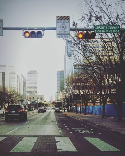 Downtown City Street Transportation Stoplight Car Outdoors No People Downtown District Red Light Road Sign Skyscraper Day Urban Skyline Sky Austin, TX Austin Austin Texas Travel Business Finance And Industry Cityscape