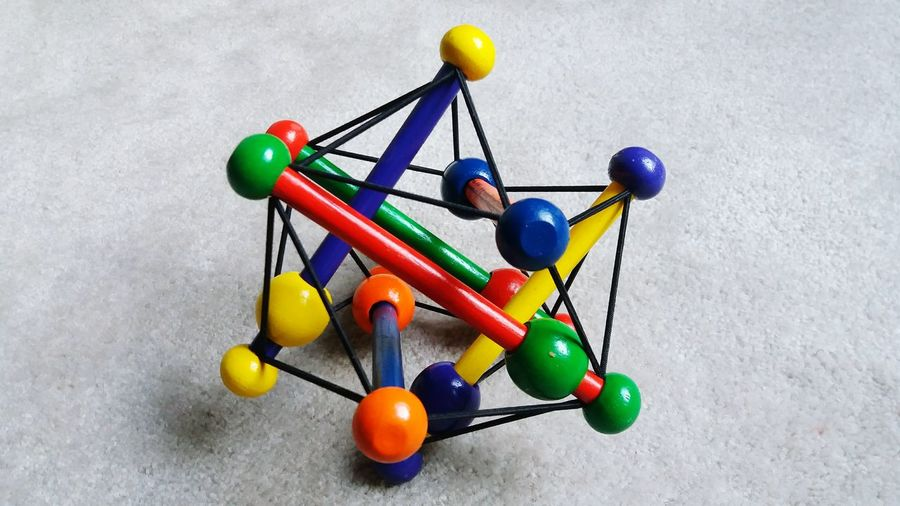 Close-up of molecular structure on table