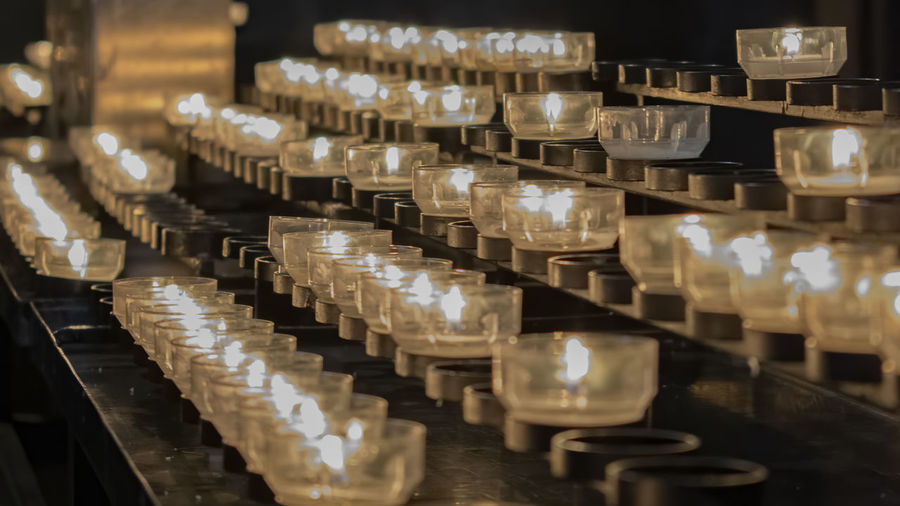 Tea light candles in temple