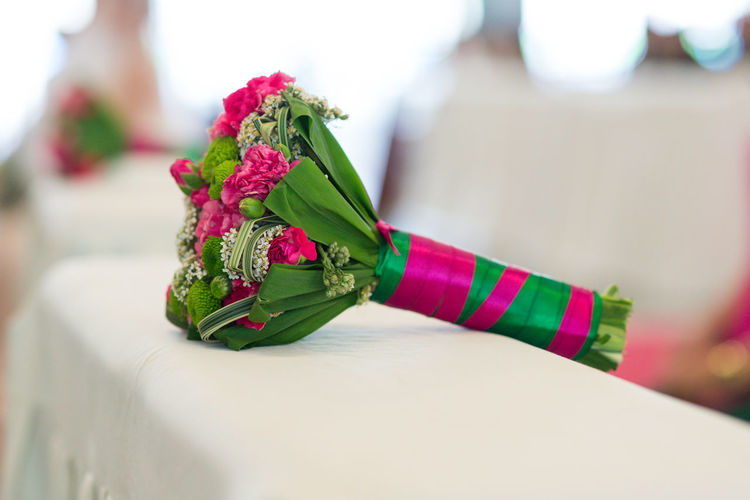 bouquet of flowers for wedding Engagement Wedding Flower Close-up Flowering Plant Plant Focus On Foreground Selective Focus Art And Craft Indoors  Rose - Flower Rosé One Person Human Body Part Still Life Green Color Beauty In Nature Bouquet Hand Creativity Table Bracelet Flower Arrangement Personal Accessory