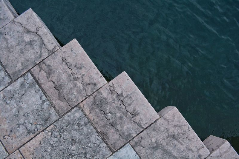 Directly above view of pier in lake garda