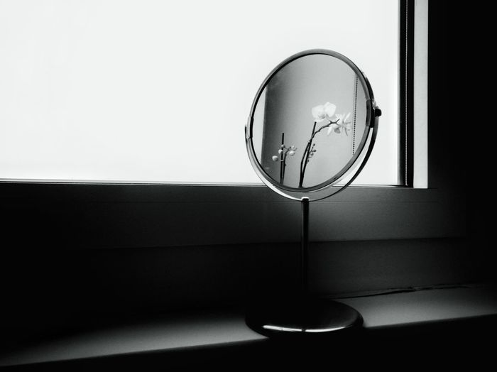 Reflection Indoors  Home Interior No People Domestic Room Day Object Black And White Window Flower Orchid Mirror 3XSPUnity