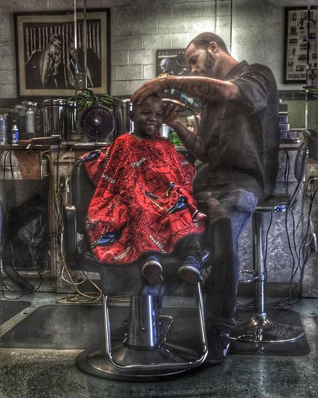 Happy kid Haircut Getting Fresh Taking Photos Urban Barbershop People HDR Hdr_Collection Urbanphotography People Photography