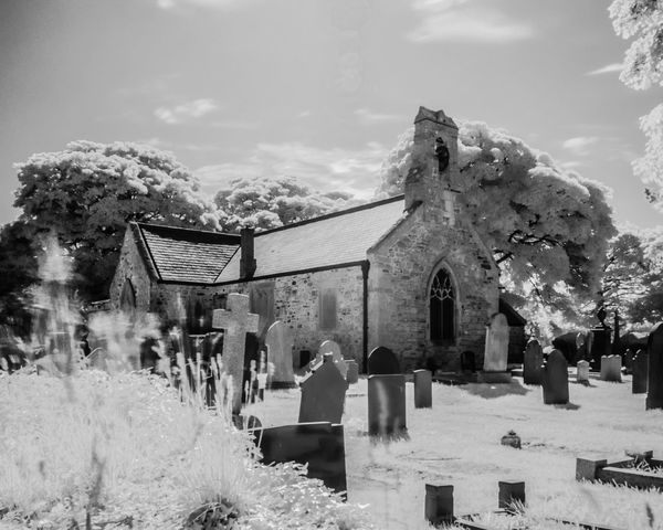 St Hilary's Church, Llanrhos, North Wales. Architecture Built Structure Church Churchyard Cloud Cloud - Sky Day Infrared Infrared Photography Leisure Activity Lifestyles Nature Outdoors Sky Sunny Day Tourism Travel Destinations Tree