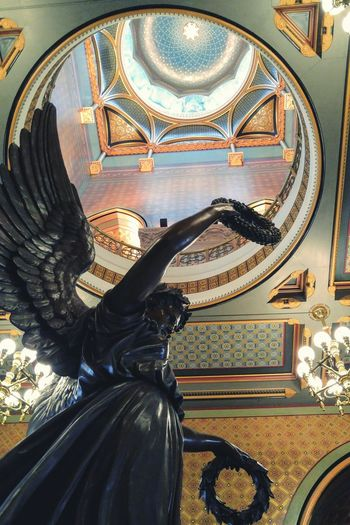 Looking up at the dome. Connecticut State Capitol Building. Architecture Historic Building Decoration Classical Architecture Architectural Detail Low Angle View Sculpture Architectural Feature Ornate Building Statues Ornate Design Capitol Connecticut Hartford Dome Visual Creativity