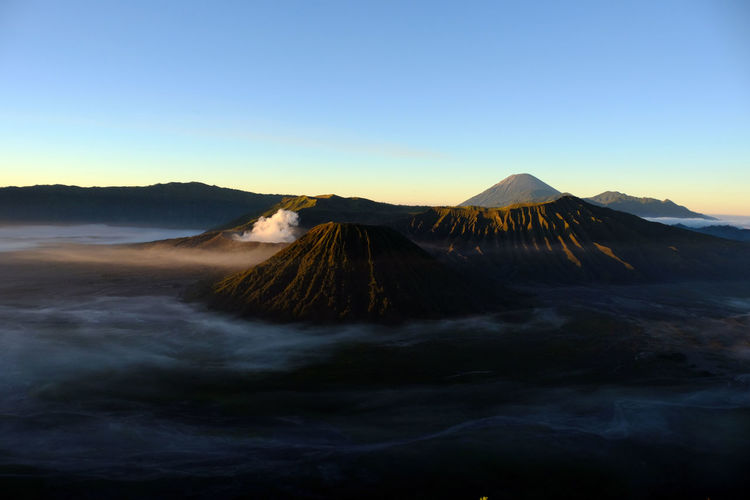 View of volcanic mountain against clear sky