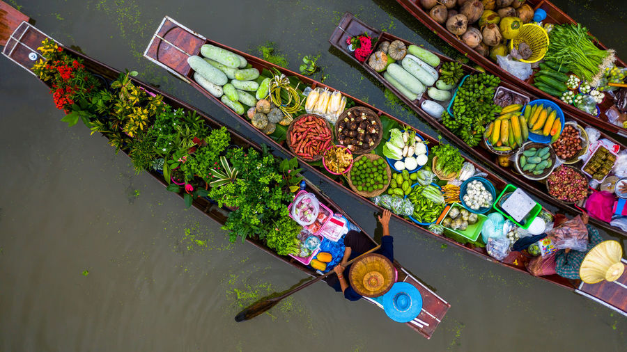 High angle view of vegetables for sale in water