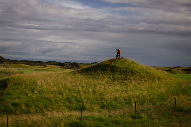 Beauty In Nature Beauty In Nature Cloud - Sky Day Full Length Grass Iceland Iceland_collection Landscape Leisure Activity Nature Nature One Person Outdoors Photographer Sky Standing