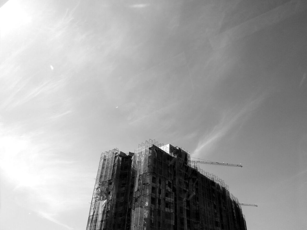 low angle view, sky, day, building exterior, outdoors, architecture, no people, nature