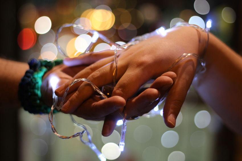 Human Hand Bride Celebration Ceremony Religion Close-up Groom Christmas Lights Wedding Ceremony Festival Christmas Decoration