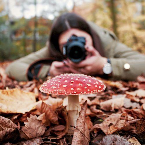 Woman Photographing Fly Agaric Mushroom