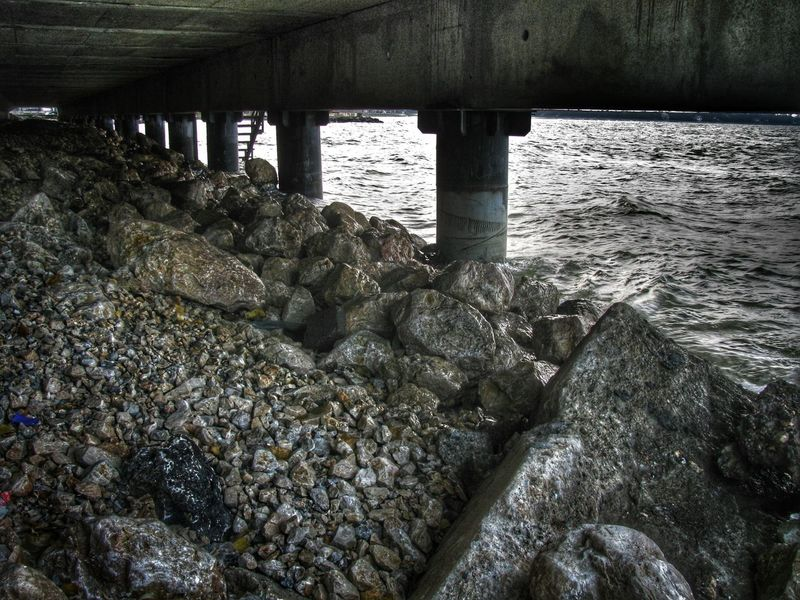 Bridge Column Dark Places Eye4photography  EyeEm Gallery Geometry Hidden Places Natural Monochrome Pattern, Texture, Shape And Form Pier Rough Seashore Textures And Surfaces Under The Bridge Water Water_collection
