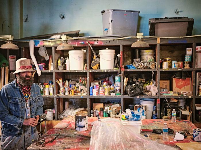 Man in market stall