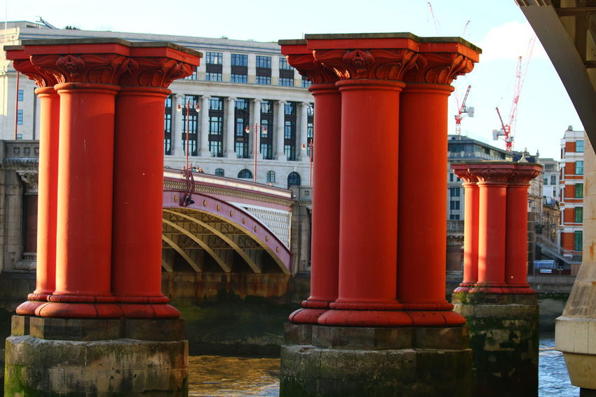 Architectural Column Architecture Red Built Structure Building Exterior Pattern, Texture, Shape And Form River Thames Bank 3XSPUnity Close-up EyeEm LOST IN London River Thames Water River Thames Skyline Architecture Bridge - Man Made Structure Pattern Design Pattern Photography LONDON❤ The Week On EyeEm Postcode Postcards Lost In London Be. Ready.
