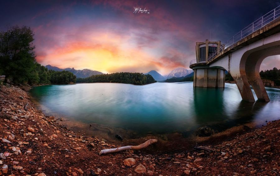 Sunset in the reservoir Building Exterior Bridge - Man Made Structure Connection Scenics - Nature Beauty In Nature Land Travel Destinations Tree Sunset Outdoors No People