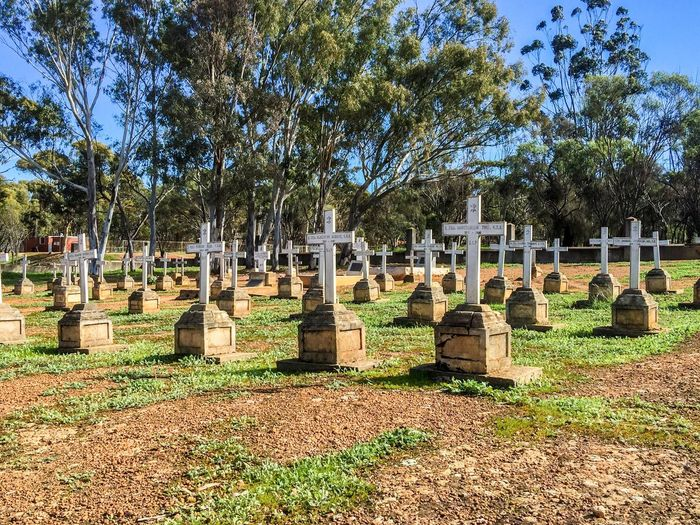 Resting Place Resting Place Cross Spiritual Religious  Remembrance Memorial Gravestone Graveyard Grave Rows Death Burial Site Burial Ground Plots New Norcia Headstones Cemetery Photography Burial Ground Western Australia Historic Australia Cemetery Wooden Group