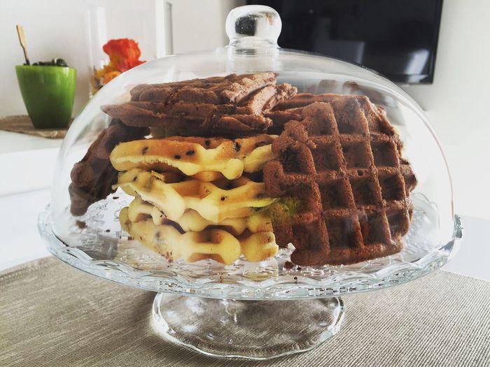 Waffles seen through glass cloche