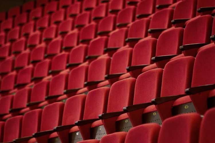 Red In A Row Full Frame Seat Empty Large Group Of Objects Indoors  Repetition Close-up No People Stadium Auditorium Backgrounds Film Industry Day Art Is Everywhere The Architect - 2017 EyeEm Awards BYOPaper!