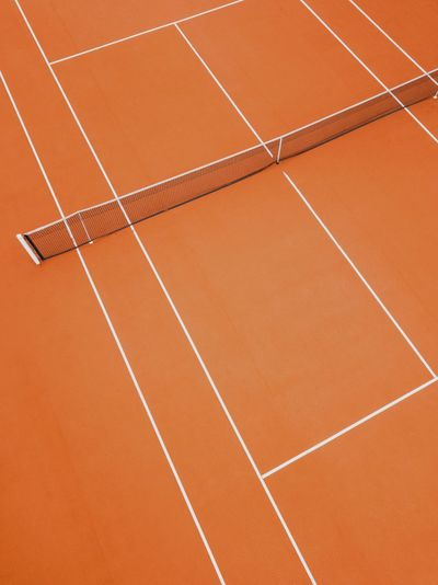 Lines And Shapes Lines Minimal Thoughts EyeEm Best Shots Drone Photography Tennis Court Tennis Sport Track And Field Competition Competitive Sport Running Track Day Outdoors Sports Track High Angle View Dividing Line Single Line