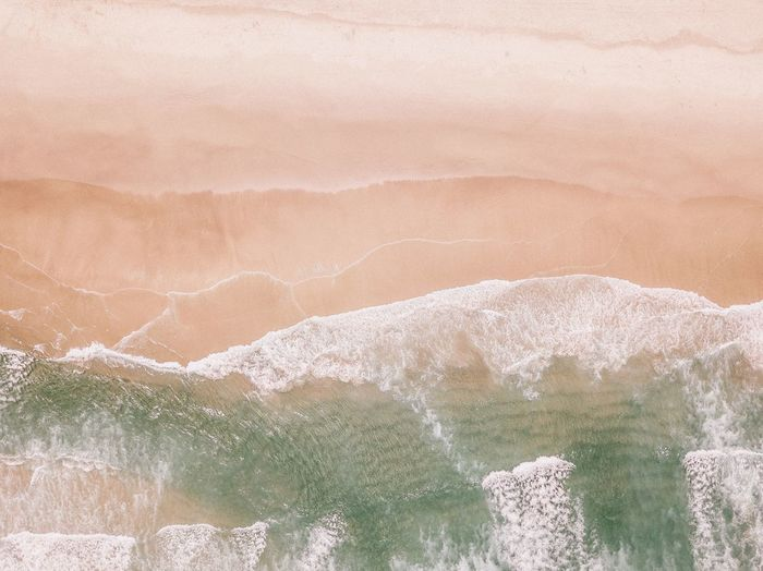 Full Frame Day Backgrounds No People Land Nature Beauty In Nature High Angle View Sand Tranquility Pattern Sunlight Outdoors Plant Beach White Color Green Color Scenics - Nature Textured  Environment