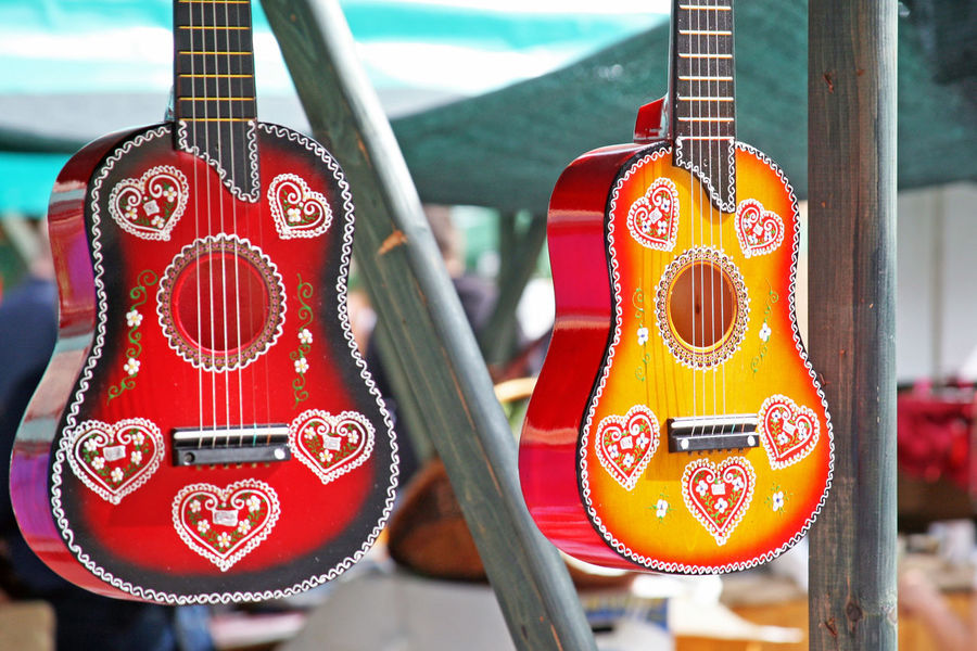 'Home-made is home-made',fair,24,2 colourful guitars,Zagreb,Croatia,EU, 2016 Colourful Croatia Day Eu Fair Guitars Hand-made Home-made Is Home-made Music Musical Instruments Outdoors Picturesque Traditional Zagreb