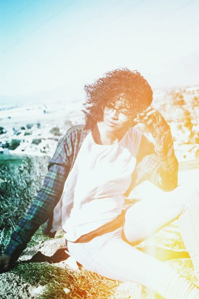 Joyful Happiness Euphoria Life Is Good Having Fun Shot On Film Vintage Shoot Showcase: January Film Vintage Light Leaks Portrait Of A Woman Portraits Portraiture Portrait Of A Girl Curly Hair Glasses Flannel High Angle View High Altitude Enjoying The Sun Thinking Enjoying Life Moody Adventures