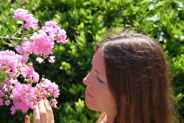 Close-up of young woman touching pink flowers at park