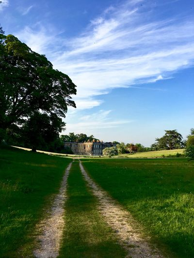 Country Home Architecture Beauty In Nature Calke Abbey Cloud - Sky Day Direction Environment Field Grass Green Color Land Landscape Nature No People Outdoors Plant Road Scenics - Nature Sky The Way Forward Tranquil Scene Tranquility Tree